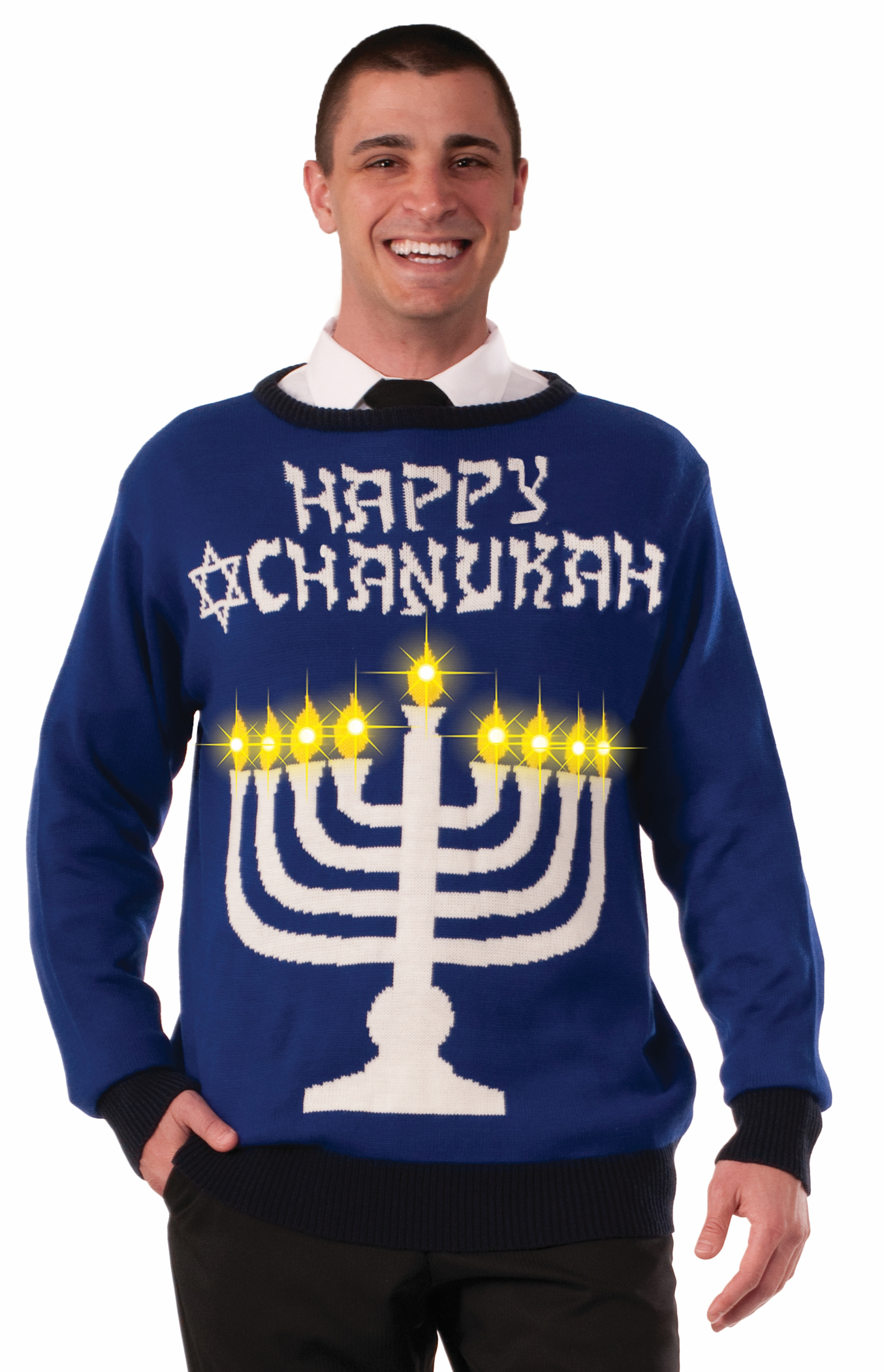 Forum Chanukah Light Up Menorah Ugly Christmas Sweater, Blue White