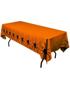 "Forum Happy Halloween Spiderweb 54"" x 102"" Plastic Tablecover, Orange Black"