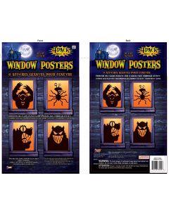 "Forum Freaky Monsters Window Posters 4pc 30"" Window Clings, Black"