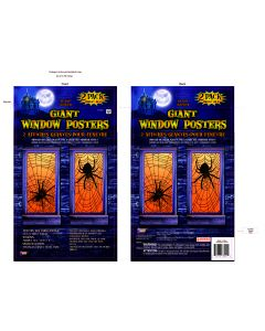 """Forum Halloween Spider Web 30"""" x 60"""" Window Clings, Black Clear, 2 Pack"""
