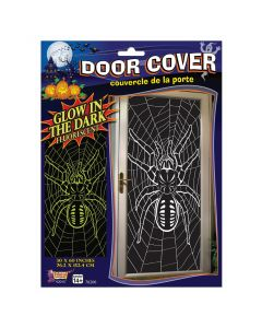 "Forum Glow In The Dark Spider & Web 30"" x 60"" Door Cover, Black"
