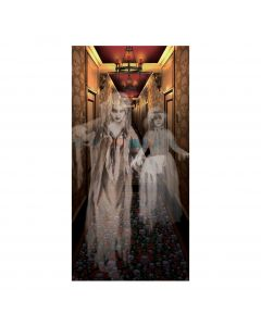 "Forum Halloween Decor Ghost Haunted Mansion Hall 30"" x 60"" Wall Cover, White"