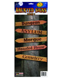 "Forum Halloween Haunted Wooden-Like 5pc Scary Sign Decorations, 18"" Brown"