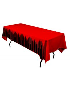 "Forum Halloween Horror Dripping Blood 54""x108"" Plastic Tablecover, Black Red"