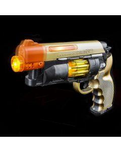 "Light-Up Future Blaster With Sound 9.5"" LED Gun, Gold Black, 6 Pack"