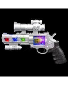 "Rinco Light-Up Space Revolver Toy w Sound 9"" LED Gun, Silver"