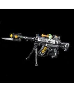 "Rinco Light-Up Combat Mission Rifle 22"" LED Gun w Bayonet, Black Grey"