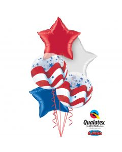Patriotic Foil Stars & Bubbles 6pc Balloon Pack, Red White Blue