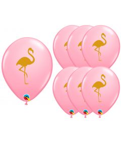 "Veil Entertainment Luau Luxe Summer Flamingo 11"" Latex Balloons, Pink Gold, 6 CT"