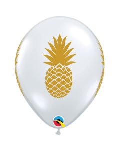 "Qualatex Luau Luxe Summer Pineapple  11"" Latex Balloons, Gold Clear, 50 CT"