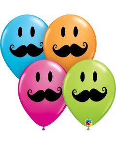"Smiley Face Mustache Emoji Colorful Party 11"" Latex Balloons, Assorted, 6 CT"
