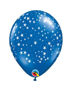 "Qualatex Summer Patriotic Stars 11"" Latex Balloons, Blue White, 50 CT"