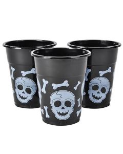Halloween Skull Party Cups 12oz Plastic Cups, Black White, 6 Pack