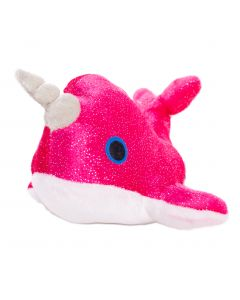 """US Toy Mystic Glittering Narwhal w Horn 7"""" Plush Animal, Pink White"""