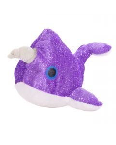 """US Toy Mystic Glittering Narwhal w Horn 7"""" Plush Animal, Purple White"""