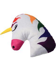 """U.S. Toy White Unicorn Pillow with Rainbow Mane 13"""" Plush Animal, White Pink"""