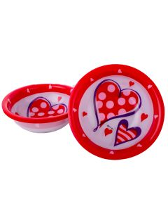 "US Toy Valentines Hearts Plastic 6.75"" Serving Bowls, Red White, 12 Pack"