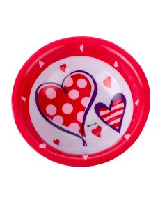 "US Toy Valentines Patterned Hearts Plastic 6.75"" Serving Bowl, Red White"