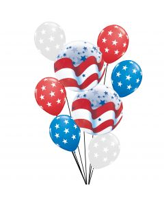 Veil Entertainment Patriotic Stars & Stripes 9pc Balloon Pack, Red White Blue