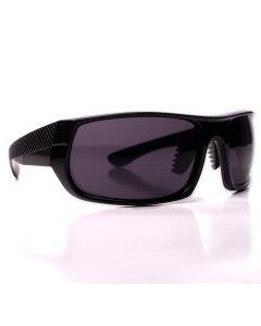 Men's Sport Textured Arm Sunglasses, Gloss Black Rectangle Frame, Black Lens