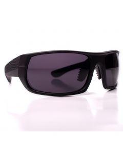 Men's Sport Textured Arm Sunglasses, Matte Charcoal Rectangle Frame, Black Lens