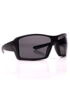 Men's Sport Wrap Around Sunglasses, Matte Black Square Frame, Black Lens