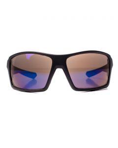 Men's Sport Wrap Sunglasses, Matte Black Square Frame, Blue Lens, OS