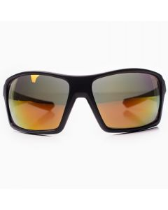 Men's Sport Wrap Sunglasses, Matte Black Square Frame, Yellow Lens, OS