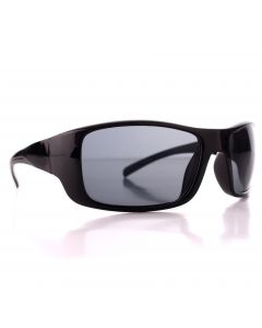 Men's Driving Wrap Sport Sunglasses, Gloss Black Frame, Grey Lens