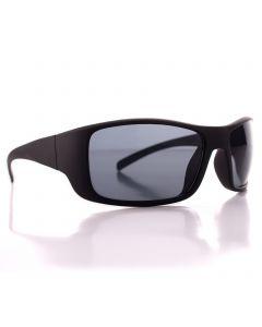 Men's Driving Wrap Sport Sunglasses, Matte Black Frame, Grey Lens