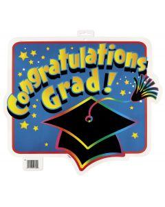 """Unique Graduation Congrats Grad Hanging 16.5"""" Cutout Sign, Blue"""