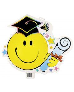 "Unique Smiley Bright Grad Cap & Diploma 17.5"" Hanging Party Cutout, White"