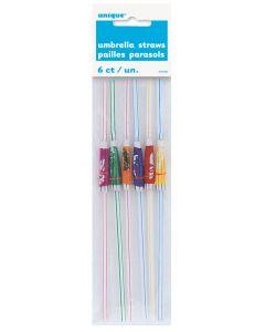 """Unique Umbrella Parasol Luau Party 9.5"""" Plastic Straws, Multicolors, 6 CT"""