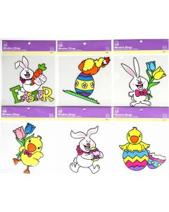 "Chef Craft Fun Easter Decoration Chick & Bunny PVC Vibrant 7"" Window Cling"