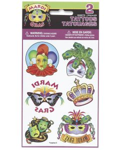 "Unique Mardi Gras Party Bag Favor surprise 2 Sheet 12pc 2"" Temporary Tattoos"