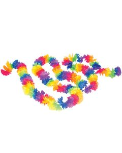 Tropical Sun Rainbow Summer Fabric Lei Luau Party 9' Garland, Neon