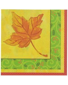 "Unique Thanksgiving Lovely Leaves 5"" Beverage Napkins, Yellow Brown Green, 16 CT"