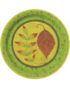 "Unique Thanksgiving Lovely Leaves 7"" Dessert Plates, Yellow Brown Green, 8 CT"