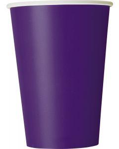 Unique Solid Color Party Tableware 12oz Paper Cups, Deep Purple, 10 CT
