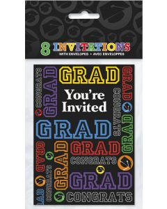 """Unique Congrats Grad Graduation Party 16pc 5.5"""" x 4"""" Party Invitations"""