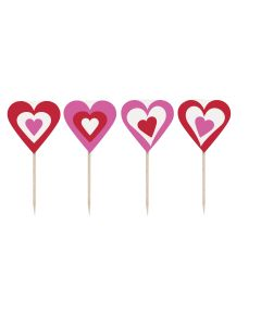 "Unique Decorative Heart-Shaped 3.5"" Appetizer Cupcake Picks, Red Pink, 8 Pack"
