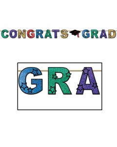 Beistle Colorful Congrats Grad Cap Decoration Glitter Streamer 10' Banner