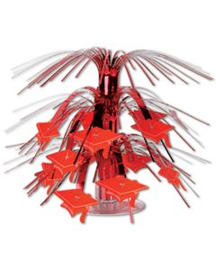 "Beistle Foil Mini Graduation Cap Decoration 7.5"" Cascading Centerpiece, Red"