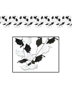 Beistle Graduate Caps Graduation Decoration 25' Garland, Black White