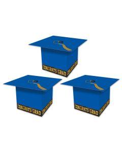 """Beistle Grad Cap Graduation Party Favor Supplies 3.25"""" Gift Boxes, Blue, 3 Pack"""
