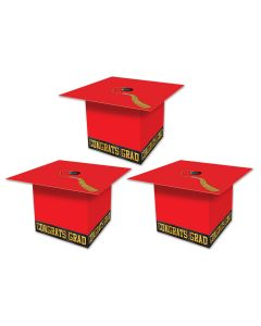 "Beistle Grad Cap Graduation Party Favor Supplies 3.25"" Gift Boxes, Red, 3 Pack"