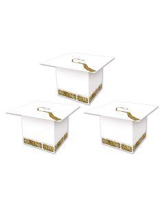 "Beistle Grad Cap Graduation Party Favor Supplies 3.25"" Gift Boxes, White, 3 Pack"