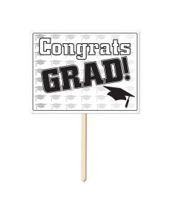 "Beistle Congrats Grad Cap Graduation 11"" x 15"" Yard Sign, White Black"