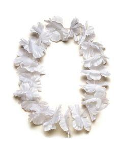 "Tropical Sun Hawaiian Luau Hula Headband 11"" Fabric Lei, White"