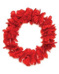 """Tropical Sun Hawaiian Luau Hula Headband 11"""" Fabric Leis, Red, 25 Pack"""